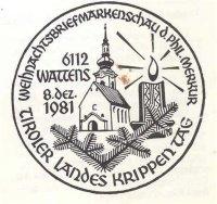 Ersttagstempel zum Landeskrippentag in Wattens - gestaltet von Max Schwaiger